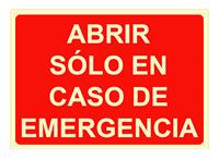 """Cartel """"solo en caso de emergencia"""""""